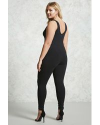Forever 21 - Black Plus Size V-neck Jumpsuit - Lyst