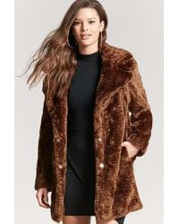 Forever 21 | Brown Longline Faux-fur Coat | Lyst