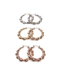 Forever 21 - Metallic Bamboo Inspired Hoop Earrings Set - Lyst