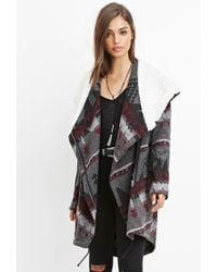 Forever 21 | Gray Geo-patterned Faux Shearling Jacket | Lyst