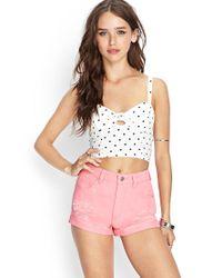 Forever 21 - Pink Women's Cuffed Denim Shorts - Lyst