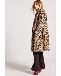 Forever 21 - Brown Faux Fur Cheetah Coat - Lyst
