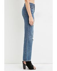 Forever 21 - Blue Distressed Boyfriend Jeans - Lyst