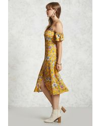 Forever 21 - Yellow Open-shoulder Floral Dress - Lyst