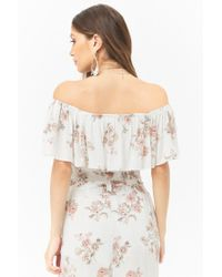 Forever 21 - White Anm Off-the-shoulder Floral Top - Lyst