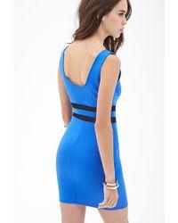 Forever 21 - Blue Mesh Scuba Knit Dress - Lyst