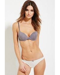 Forever 21 - Gray Lace-paneled Push-up Bra - Lyst