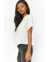 Forever 21 - White Tie-front Boxy Top - Lyst
