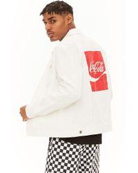 Forever 21 - White Coca-cola Graphic Denim Jacket for Men - Lyst