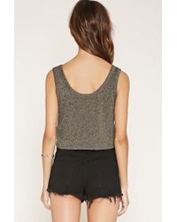 Forever 21 | Gray Marled Knit Crop Top | Lyst