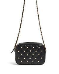 Forever 21 - Black Quilted Faux Pearl Crossbody Bag - Lyst