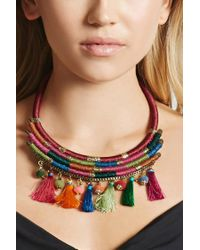 Forever 21 - Multicolor Stacked Tassel Necklace - Lyst