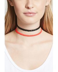Forever 21 - Multicolor Braided Faux Leather Choker Set - Lyst