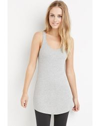 Forever 21 - Gray Ribbed Knit Longline Tank - Lyst