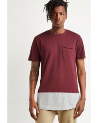 Forever 21 - Purple 's Colorblock Longline Tee Shirt for Men - Lyst