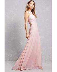 Forever 21 - Pink Soieblu Applique Mesh Gown - Lyst