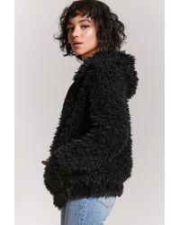 Forever 21 - Black Shaggy Faux Fur Jacket - Lyst