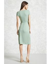 Forever 21 - Green Surplice Wrap Dress - Lyst