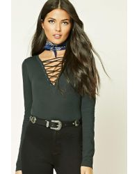 Forever 21 - Green Contemporary Lace-up Top - Lyst