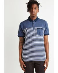Forever 21 - Blue 's Striped Colorblock Polo Shirt for Men - Lyst