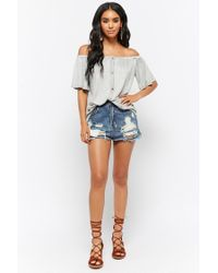 Forever 21 - Gray Women's Slub Knit Button-front Off-the-shoulder Top - Lyst