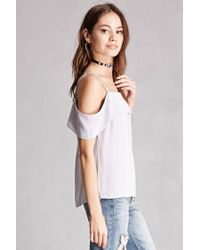 Forever 21 | Gray Foldover Open-shoulder Top | Lyst
