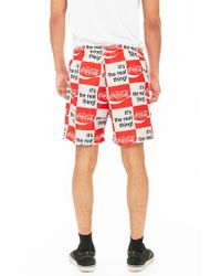 Forever 21 - Checkered Coca-cola Graphic Swim Trunks for Men - Lyst