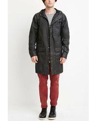 Forever 21   Black Hooded Longline Cotton Jacket for Men   Lyst