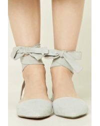 Forever 21 - Blue Strappy Faux Suede Flats - Lyst