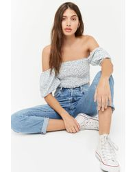 Forever 21 - Blue Smocked Ditsy Floral Crop Top - Lyst