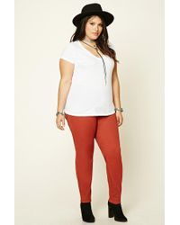 a907e651c4d Forever 21 Plus Size Skinny Jeans in Red - Lyst