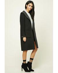 Forever 21 - Black Longline Wool-blend Hooded Coat - Lyst