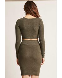Forever 21 | Green Marled Asymmetrical Crop Top | Lyst