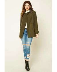 Forever 21 - Blue Double-breasted Pea Coat - Lyst