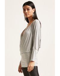 Forever 21 Gray Surplice Knit Tunic
