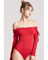 Forever 21 - Red Women's Ruched Off-the-shoulder Bodysuit - Lyst