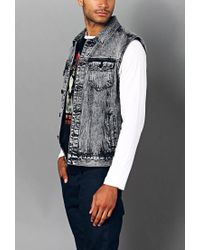 Forever 21 - Black Distressed Paint-flecked Denim Vest for Men - Lyst