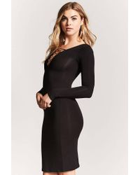 Forever 21 - Black Lace-up Bodycon Dress - Lyst