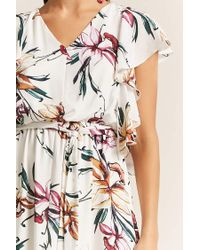 Forever 21 - White Orchid Print Dress - Lyst