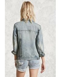 Forever 21 - Blue Distressed Denim Jacket - Lyst