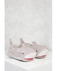 Forever 21 | Gray Fleece Shark Slippers | Lyst