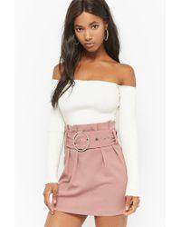 FOREVER21 - Purple Paperbag-waist Mini Skirt - Lyst