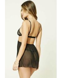 Forever 21 - Black Mesh Slip And Thong Brief Set - Lyst