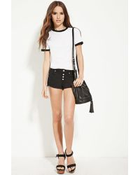 Forever 21 - Black Exposed-button Denim Cutoffs - Lyst