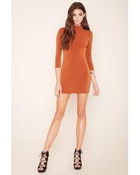 Forever 21 | Orange Mock Neck Mini Dress | Lyst