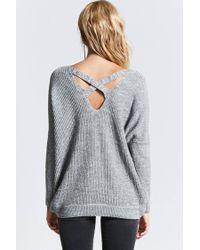 Forever 21 - Gray Crisscross-back Ribbed Sweater - Lyst