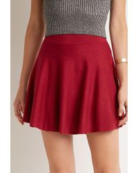 Forever 21 - Red Ribbed Skater Skirt You've Been Added To The Waitlist - Lyst