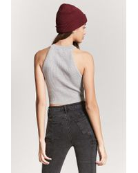 Forever 21 Gray Ribbed High-neck Crop Top