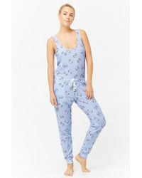 039bb929f6a6 Lyst - Forever 21 Cat Graphic Pajama Jumpsuit in Blue