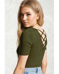 Forever 21 - Green Crisscross Ribbed Tee - Lyst